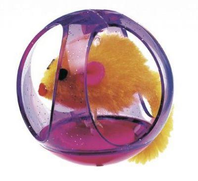 Ferplast - Ferplast Yuvarlak Top İçinde Peluş Kedi Oyuncağı 6 cm