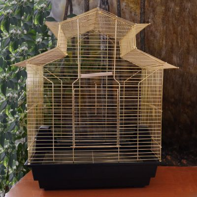 QH PET CAGE - Qh Pet Cage Çin Çatılı Pirinç Papağan Kafesi 47x36x62 cm