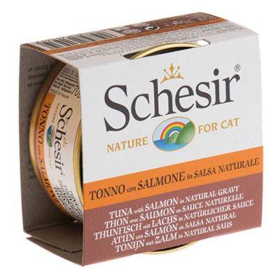 Schesir - Schesir Soslu Tuna ve Somonlu Kedi Konservesi 70 Gr