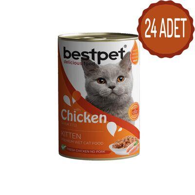 Best Pet - Bestpet Püre Kıyılmış Tavuklu Konserve Yavru Kedi Maması 415 Gr x 24
