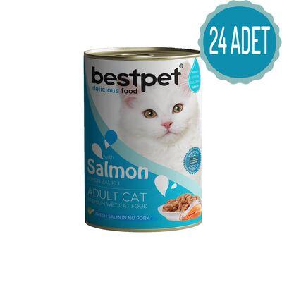 Best Pet - Bestpet Somonlu Konserve Kedi Maması 415 gr x 24