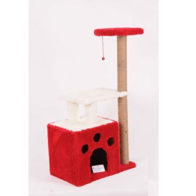 Diğer - Cat Hause Kedi Yaşam Alanı ve Tırmalama Standı Kırmızı