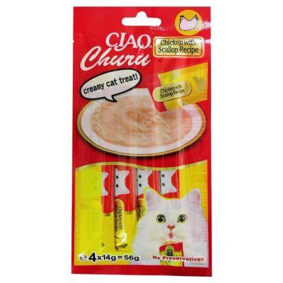 Ciao - Ciao Tavuklu ve Deniz Tarağı Kedi Sıvı Atıştırmalık Ödül 56 gr