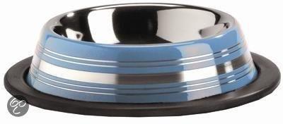 Inox - İnox Çizgili Mama ve Su Kabı 180 ml Mavi