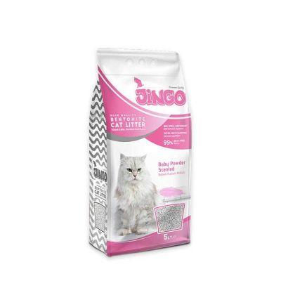 Jingo - Jingo Bebek Pudrası Kokulu Bentonit Kedi Kumu İnce Taneli 5 L