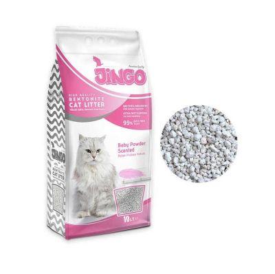 Jingo - Jingo Bebek Pudrası Kokulu Bentonit Kedi Kumu Kalın Taneli 10 L