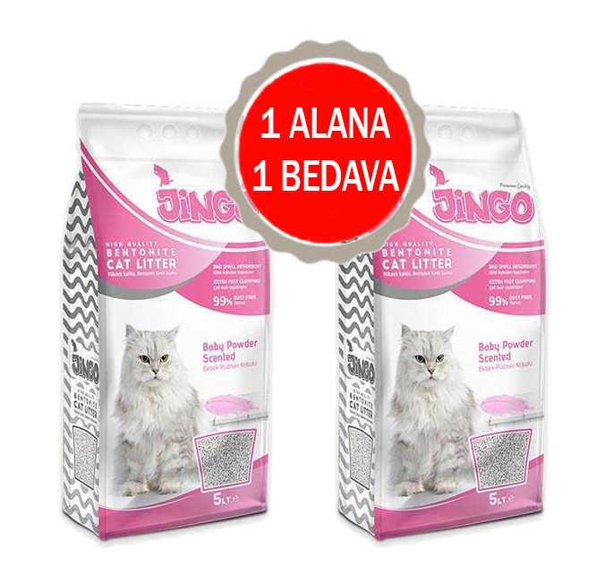 Jingo Bebek Pudrası Kokulu Bentonit Kedi Kumu Kalın Taneli 5 L - 2 ADET