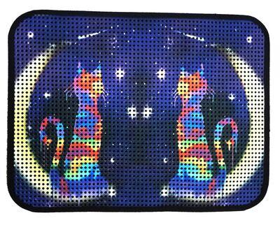 Miapet - Miapet Elekli Desenli Kedi Tuvalet Önü Paspası 60 x 45 cm Ay-Yıldız