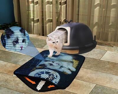 Miapet - Miapet Elekli Desenli Kedi Tuvalet Önü Paspası 60 x 45 cm Balık Ağı