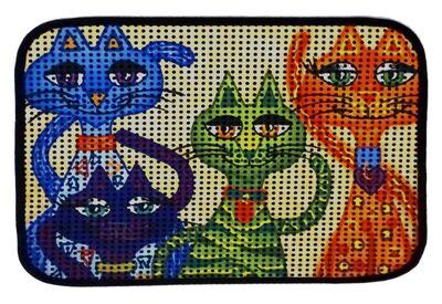 Miapet - Miapet Elekli Desenli Kedi Tuvalet Önü Paspası 60 x 45 cm Gülen Kediler