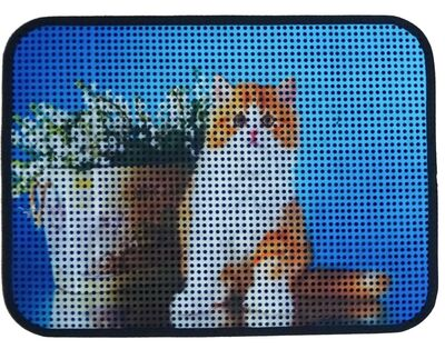 Miapet - Miapet Elekli Desenli Kedi Tuvalet Önü Paspası 60 x 45 cm Saksı