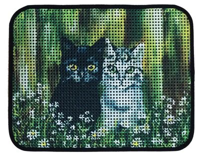 Miapet - Miapet Elekli Desenli Kedi Tuvalet Önü Paspası 60 x 45 cm Siyah-Beyaz Kediler