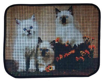 Miapet - Miapet Elekli Desenli Kedi Tuvalet Önü Paspası 60 x 45 cm Üç Beyaz Kedi