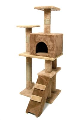 Miapet - Miapet Lüks Kedi Evi ve Tırmalama Miss Cat Cappuccino 55x45x130 cm