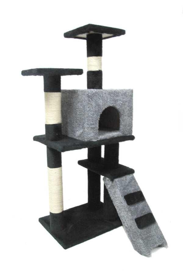 Miapet Lüks Kedi Evi ve Tırmalama Miss Cat Gri 55x45x130 cm