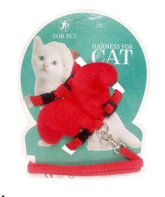 Miapet - Miapet Melek Kanatlı Kedi Göğüs Tasması Kırmızı