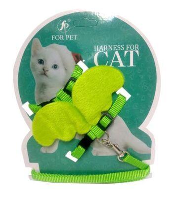Miapet - Miapet Melek Kanatlı Kedi Göğüs Tasması Yeşil
