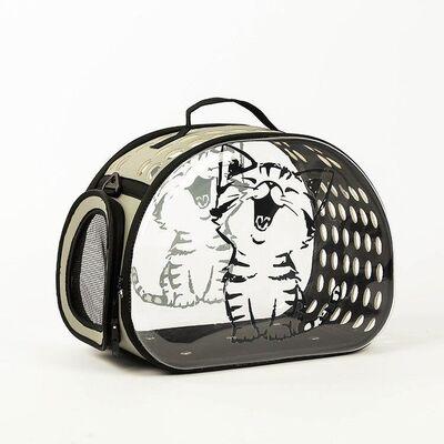 Miapet - Miapet Şeffaf Desenli Kedi Köpek Taşıma Çantası 42 x 26 x 35 cm Çizgi Kedi
