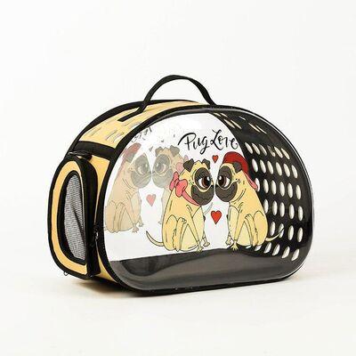 Miapet - Miapet Şeffaf Desenli Kedi Köpek Taşıma Çantası 42 x 26 x 35 cm Pug Love