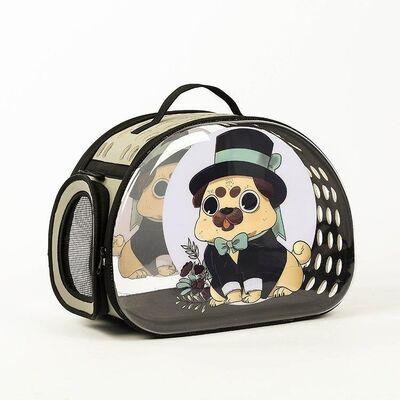 Miapet - Miapet Şeffaf Desenli Kedi Köpek Taşıma Çantası 42 x 26 x 35 cm Smokin