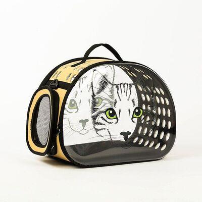 Miapet - Miapet Şeffaf Desenli Kedi Köpek Taşıma Çantası 42 x 26 x 35 cm Yeşil Göz