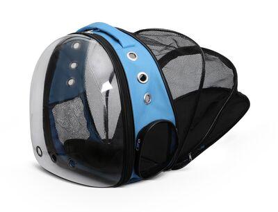 Miapet - Miapet Şeffaf Fileli Astronot Kedi Köpek Taşıma Çantası 42x22x33 Cm Mavi