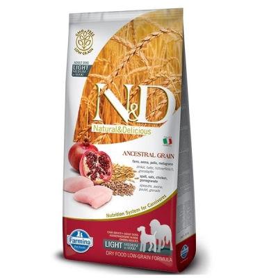 N&D - N&D Düşük Tahıl Light İri ve Orta Irk Yetşkin Köpek Maması 12KG