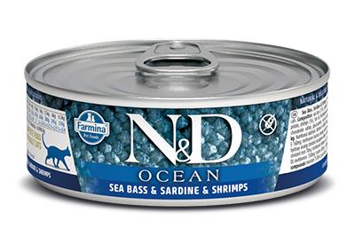 N&D - N&D Ocean Tahılsız Levrek Sardalya ve Karidesli Kedi Konservesi 80 Gr