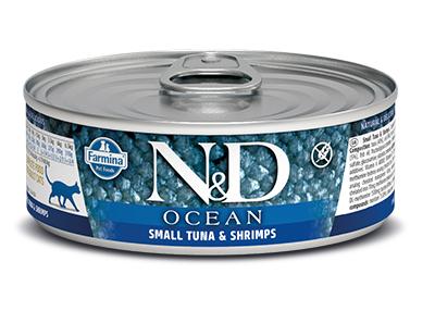 N&D - N&D Ocean Tahılsız Ton Balıklı ve Karidesli Kedi Konservesi 80 Gr