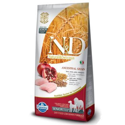 N&D - N&D Senior Düşük Tahıllı Tavuk ve Narlı Yaşlı Köpek Maması 12 KG