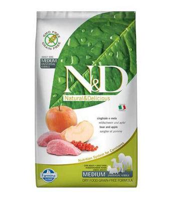 N&D - N&D Tahılsız Yaban Domuzlu ve Elmalı Yetişkin Köpek Maması 12 KG