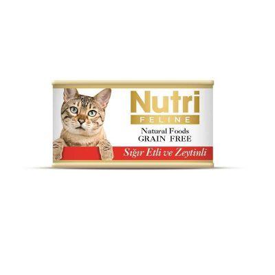 Nutri - Nutri Feline Tahılsız Sığır Etli Zeytinli Kedi Konservesi 85 Gr