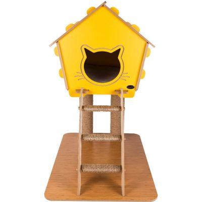 Diğer - Patihomes Merdivenli Tırmalamalı Kedi Evi 74x65x40 Cm Pembe
