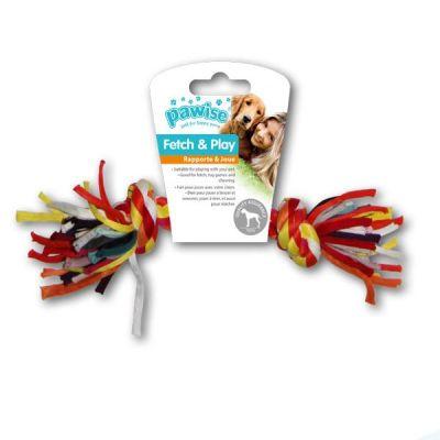 Pawise - Pawise Renkli Düğümlü İp Kemik 22 Cm