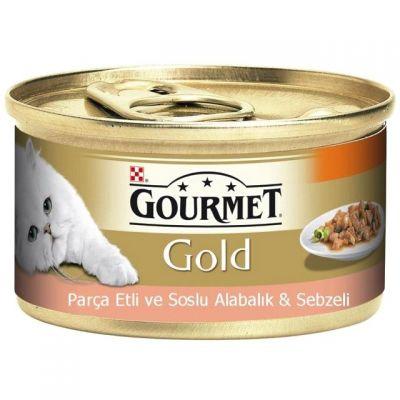 Gourmet - Gourmet Gold Parça Etli Alabalık-Sebze Konserve Kedi Maması 85G